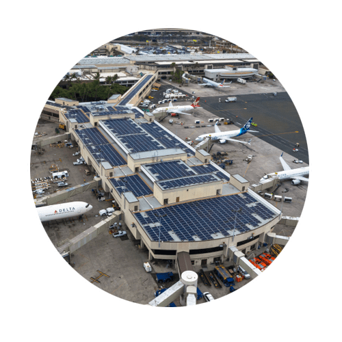 Hệ thống điện năng lượng mặt trời áp mái sân bay